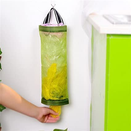AUCH 1Pcs Hanging Folding Mesh Garbage Bag Organizer Trash Bags Holder Recycling Containers Plastic Waste Bag & Amazon.com - AUCH 1Pcs Hanging Folding Mesh Garbage Bag Organizer ...