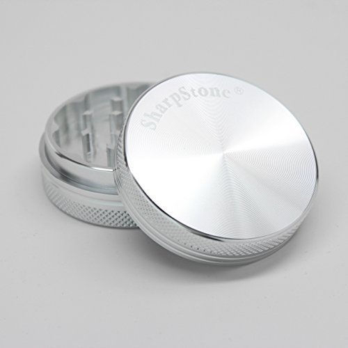 Sharp Stone Official Authentic Large 2 Piece Grinder Hard Top 2.5 Inches Silver + Free Performance Technology Wrist Band