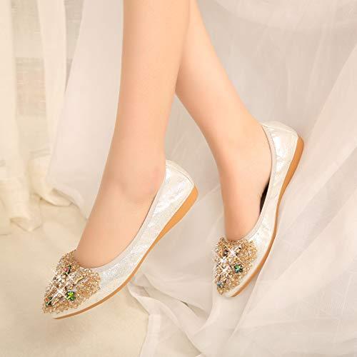 de de Mujer EU B de Mariposa Suave Maternidad de Profundos Plana Poco Suela FLYRCX de Trabajo Antideslizantes Zapatos 42 Zapatos Rhinestone Zapatos de Puntiagudos la Fondo Tq5Fff