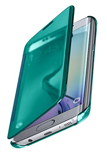 moex Samsung Galaxy S6 Edge | Premium Transparent Mirror Case 360° Full Protection Case Flip Cover - Turquoise