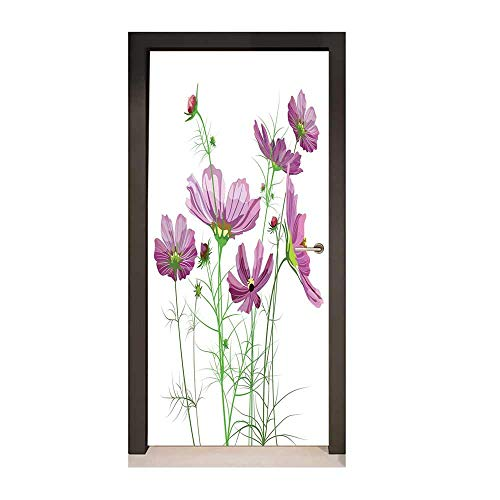 Flora Springs Vineyard - Green Flower 3D Murals Wall Stickers Cosmos Bipinnatus Pattern Spring Season Flora Asteraceae Bloom Botany Element for Home Decoration Lilac Green,W23xH70