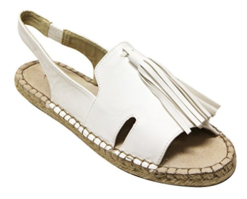 Cider Espadrille C Womens White Sandals Label Elastic On Flat 2 Tassel Slip qA66x5Xw