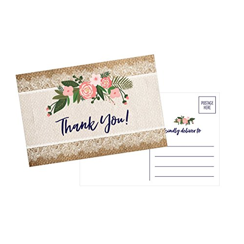 50 4x6 Rustic Flower Thank You Postcards Bulk, Cute Kraft Floral Watercolor Note Card Stationery For Wedding, Bridesmaid, Bridal or Baby Shower, Teachers, Appreciation, Religious, Business, Holiday
