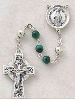 """Sterling Silver Semi-precious Malachite Rosary Sterling Silver, 6mm Malachite Bead 1 1⁄4"""" Crucifix Gift Box"""