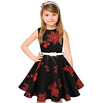 Hbbmagic Girls Sleeveless Round Neck Floral Audrey 1950s Fashion Vintage Swing Party Dress (Girls 11-12, Red Bouquet) 0