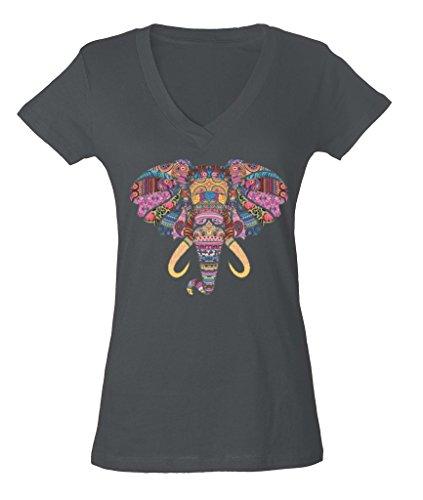 Mosaic Art Elephant Skull Nature Spirit Ladies V-Neck T-shirt Wild Dream Catcher Shirts Large Charcoal aa - Mosaic Shirt