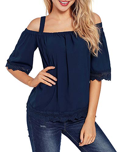 LEANI Womens Cold Shoulder Lace Trim Loose Blouse Top Summer Solid Color Spaghetti Strap Shirt