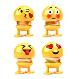 4 Pack Cute Emoji Springs Bobble Head Dolls, Funny Smiley Face Bounce Toys for Car Interior Accessories Decoration, Home Ornament, Party Favors, Novelty Emoticon Shaking Head Dance Toys (Lovely)