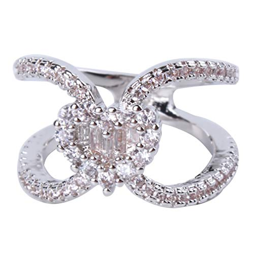 SOURBAN Heart Shaped Cubic Zircon Ring Love Hollow Shining Ring for Women and Girls,Size 4