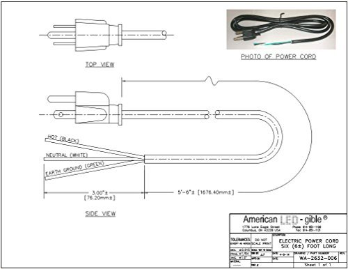 6 Foot 3 Prong Power Cord-Trimmed