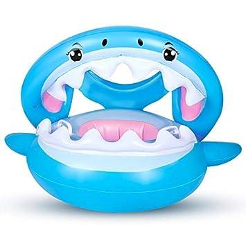 Flotador para Bebé con Sombrilla Ajustable Barco Anillo de NatacióN Inflable de la Piscina del Bebé Flotador de NatacióN para Bebé 6-36 Meses