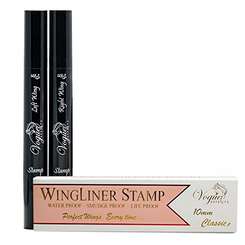 Eyeliner Stamp – WingLiner by Lovoir / Vogue Effects Black, waterproof, smudgeproof, winged long lasting liquid eye liner pen, Vamp style wing, No Dipping required. 2 Pens (10mm Classic) by Vogue Effects (Image #5)