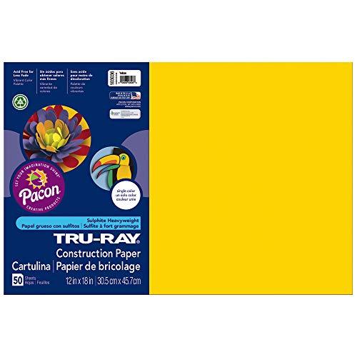 Tru-Ray Heavyweight Construction Paper, Yellow,  12