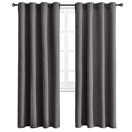 (WONTEX Blackout Curtains Thermal Insulated with Grommet Curtains for Bedroom, 52 x 84 inch, Grey, 2 Panels)