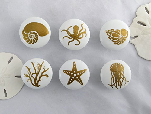 Gold and White Ocean Knob (Single Knob)