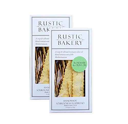 Rustic Bakery Gourmet Handmade Flatbread Rosemary & Olive Oil 6 oz. (2 pack)