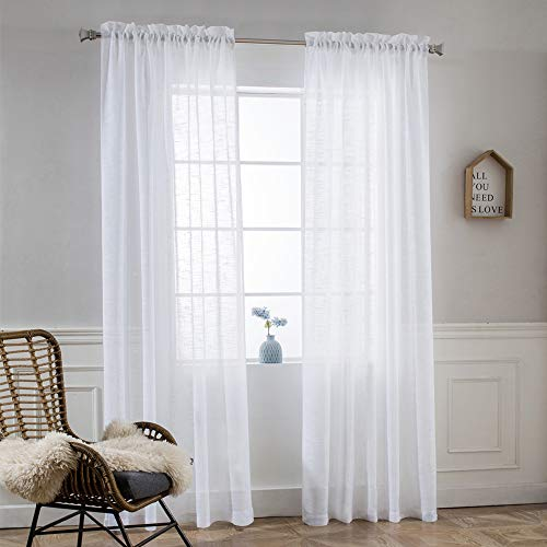 NICETOWN Linen Blend 84 inches L Sheer Curtains - Pocket Top Design Translucent Privacy with Light Penetration Semi Voile Drapes for Farmhouse (52 inchesx84 inches, 1 Pair, White) (Nice Patio)
