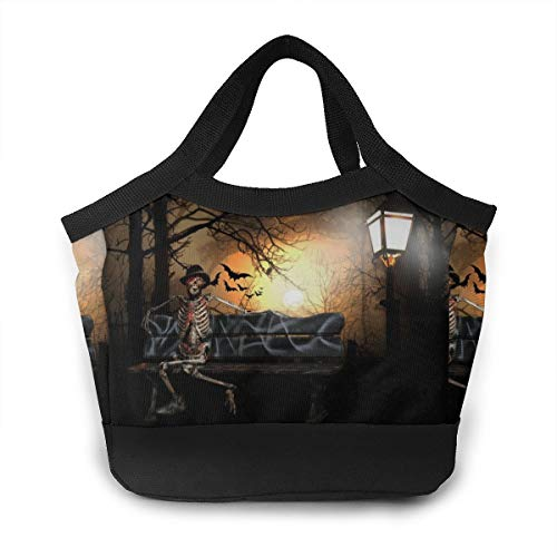 YZWbag Surreal Halloween Skeleton Bat Creepy Mystical Men & Women Waterproof Lunch Bag 8.5x8.5x4.6inch Insulated Lunch Tote Cooler Cooling Bags Boxes for Work Office Picnic Beach,Lunch Bag]()