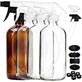 Youngever 4 Pack Empty Glass Spray Bottle 16 oz Clear Glass Spray Bottle