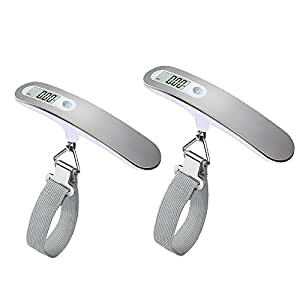 QUMOX High Precision Digital Travel Scale for Suitcase luggage Weight 110lb 50KG Capacity, Heavy Duty Hanging, Silver2x