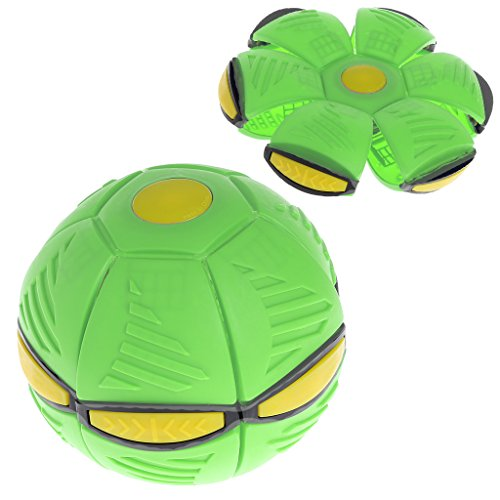 AISme Magic Saucer Inflection Ball Flying UFO Flat Throw Disc Ball With LED Light Toy Kid Outdoor Garden Beach Game Toys (Green)