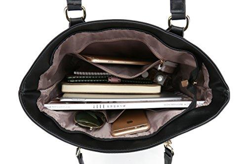 Set and Bag Bag Handbag Piece 6 Shoulder Bag 4 Tote Black Women Purse Work for q1pRxnT