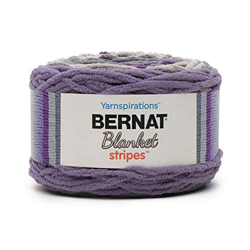 - Bernat Blanket Stripes Yarn, 10.5 oz, Gauge 6 Super Bulky Chunky, Eggplant