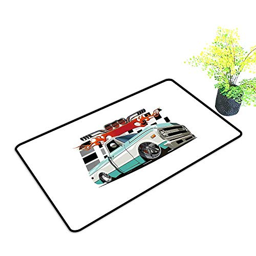 Diycon Thin Door mat Truck Lowrider Pickup with Racing Flag Pattern Background Speeding on The Streets Modified W20 xL31 Durable Multicolor