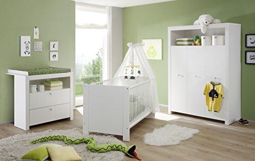 Trendteam Babyzimmer 3 Teiliges Komplett Set Olivia In Weiss Mit Viel