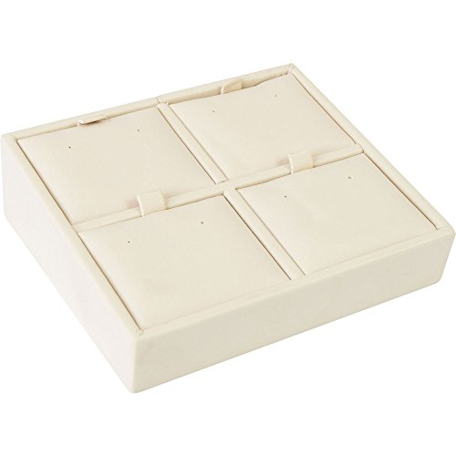 "Gunther Mele DA28D04PESB Earring Tray, 4 Pierce, 4-5/8"" x 4"" x 1-1/2"" Size, Beige (Pack of 2)"