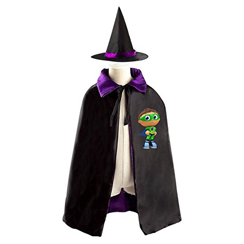 Super Why Child Costumes (Kids Wizard Witch Costume Set Super Why Cosplay Party Reversible Cape With Hat)