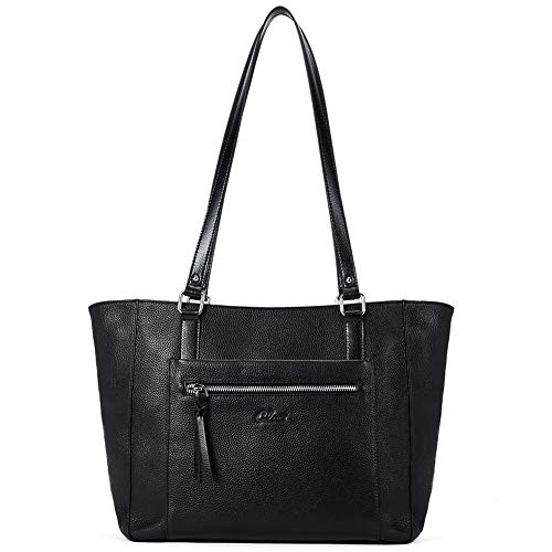 Women Handbags Soft Genuine Leather Designer Purse Large Tote Top Handle Ladies Shoulder Bag Black ()