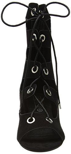 Boohoo Lace Up - Sandalias Mujer negro (negro ante)