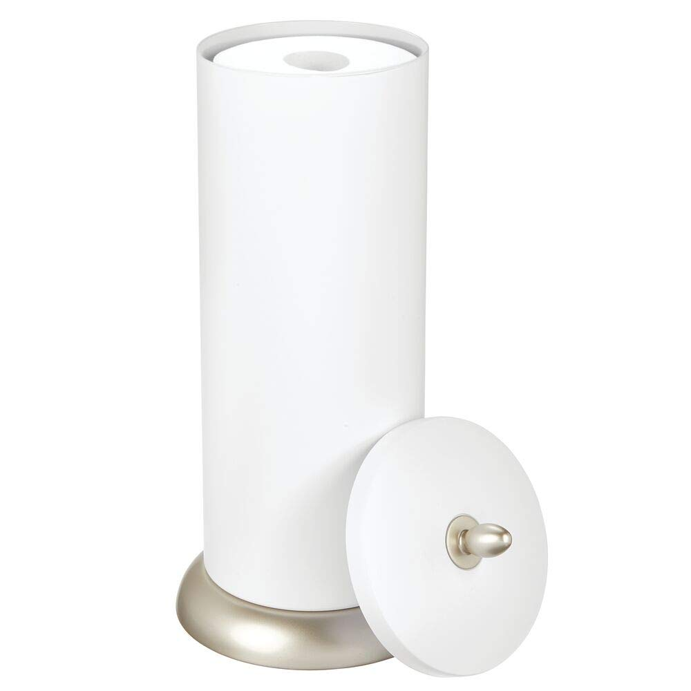 Pearl White//Chrome mDesign Plastic Free Standing Toilet Paper Holder Canister with Storage for 3 Extra Rolls of Toilet Tissue Holds Mega Rolls for Bathroom//Powder Room