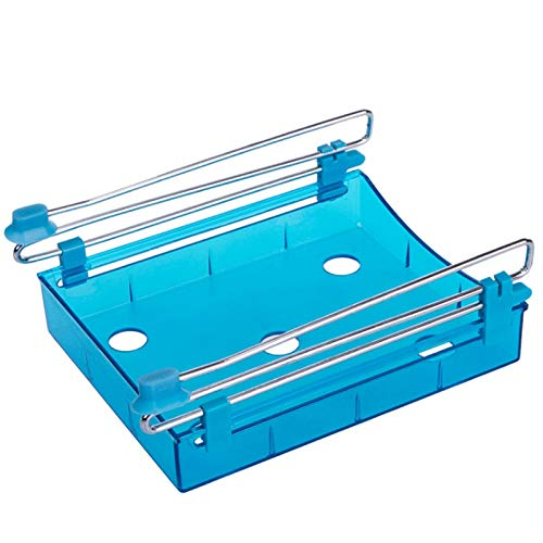 (Pull Out Refrigerator Drawer -Freezer Organizer Trays, Space Saving Fridge Containers for Home Kitchen and Pantry Cabinet Storage Organization (blue))