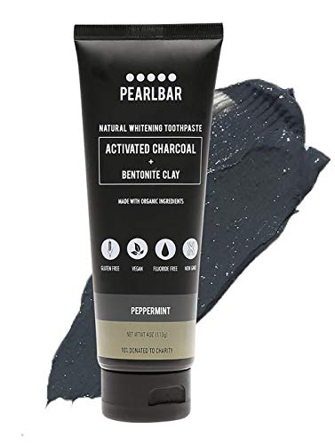 PearlBar Natural Whitening Fluoride-Free Activated Charcoal Toothpaste 4 Ounce