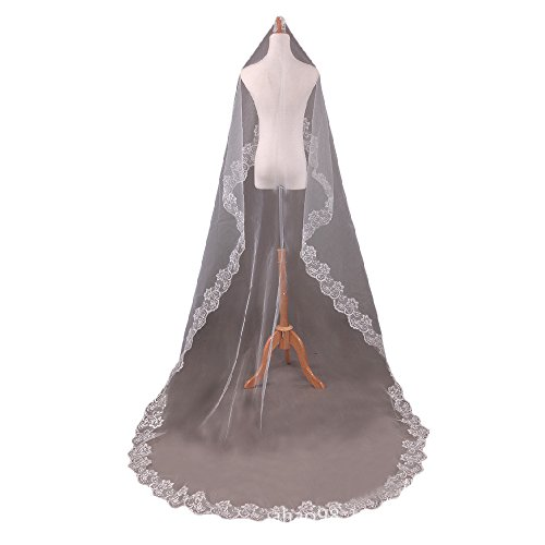 1T Appliqued Mantilla 3M Cathedral Wedding Veil With Chantilly Lace Edge Veils (Chantilly Lace Veils)