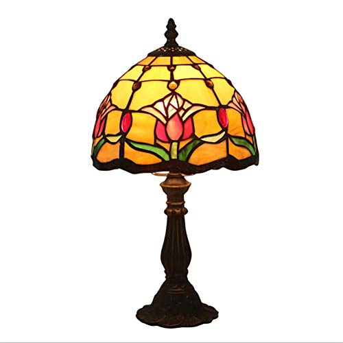 8 '' Tiffany Style Table Lamp European Retro Style Bedroom Led Table Lamp Manual Production Red Tulip Pattern Pattern Lampshade Indoor Lighting ()