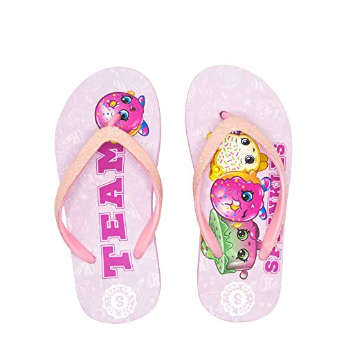 Flip Team Flops (Shopkins Girls Flip Flops with Sparkling Jelly Straps in Pink/Team, Size 2/3 US Little Kid)