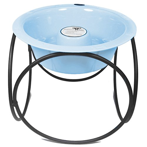 Platinum Pets Slow Eating Single Olympic Diner Feeder with Stainless Steel Dog Bowl, Sky Blue by Platinum Pets