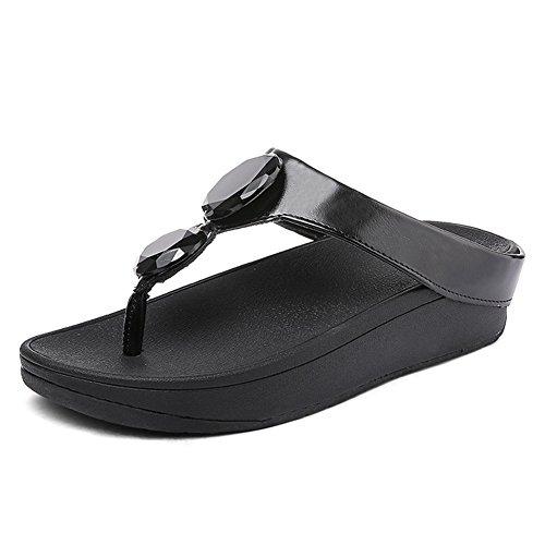 Fondo Chancletas Sandalias Negro Rhinestone Antideslizante Pellizcar Playa Mujer NVXIE Pendiente Grueso Zapatos de Wq06nXXH