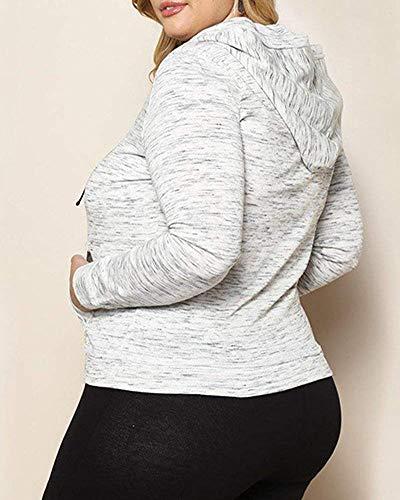 Taille Femmes large Pour Avec Poches À Et Longues Sweats coloré Capuche Xxx Manches Gris Oudan Gris Grande WqYZIxg