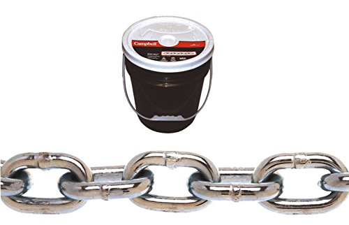 tem 3 Grade 30 Low Carbon Steel Proof Coil Chain in Round Pail, Zinc Plated, 3/16