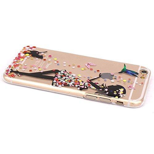 ZXLZKQ Coque pour iPhone 4 / 4SEtui Transparent Soft TPU Silicone Housse Case Protecteur Fille Chien Swallows Coque pour Apple iPhone 4 / 4S(non applicable iPhone 5)