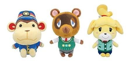 Set of 3 Animal Crossing New Leaf Plush - Porter, Tom Nook & Isabelle/