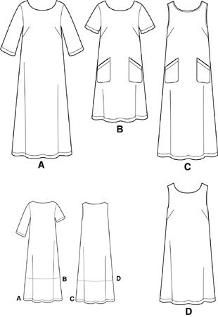Pullover Dress Sewing Pattern (Simplicity 9295 Sewing Pattern Womens Full Figure Pullover Dress Size 18 - 24 - Bust 40 -)