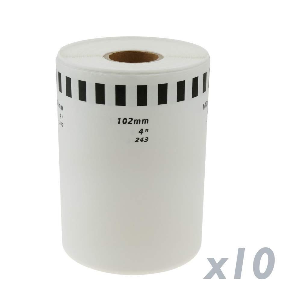 BeMatik Rollo Bobina de Etiquetas continuas Adhesivas compatibles con Brother DK-22243 DK-2243 102mm 10-Pack