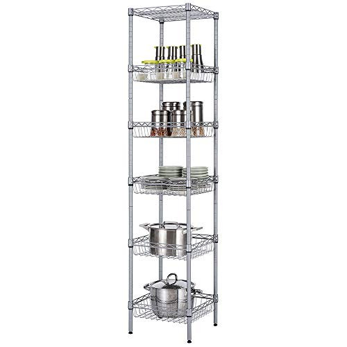 SINGAYE Storage Shelves, 6-Tier Wire Shelving Unit with Baskets Shelving Adjustable Storage Shelf, 13.4