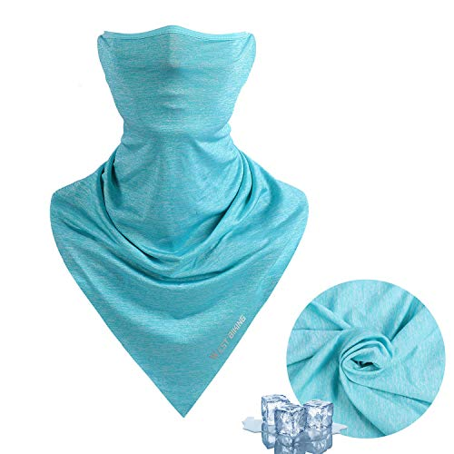 Face Mask for Summer, Bicycle Triangle Ice Silk Balaclava UV Protection Bandana Cycling Breathable Heandband Neck Gaiter ... Blue