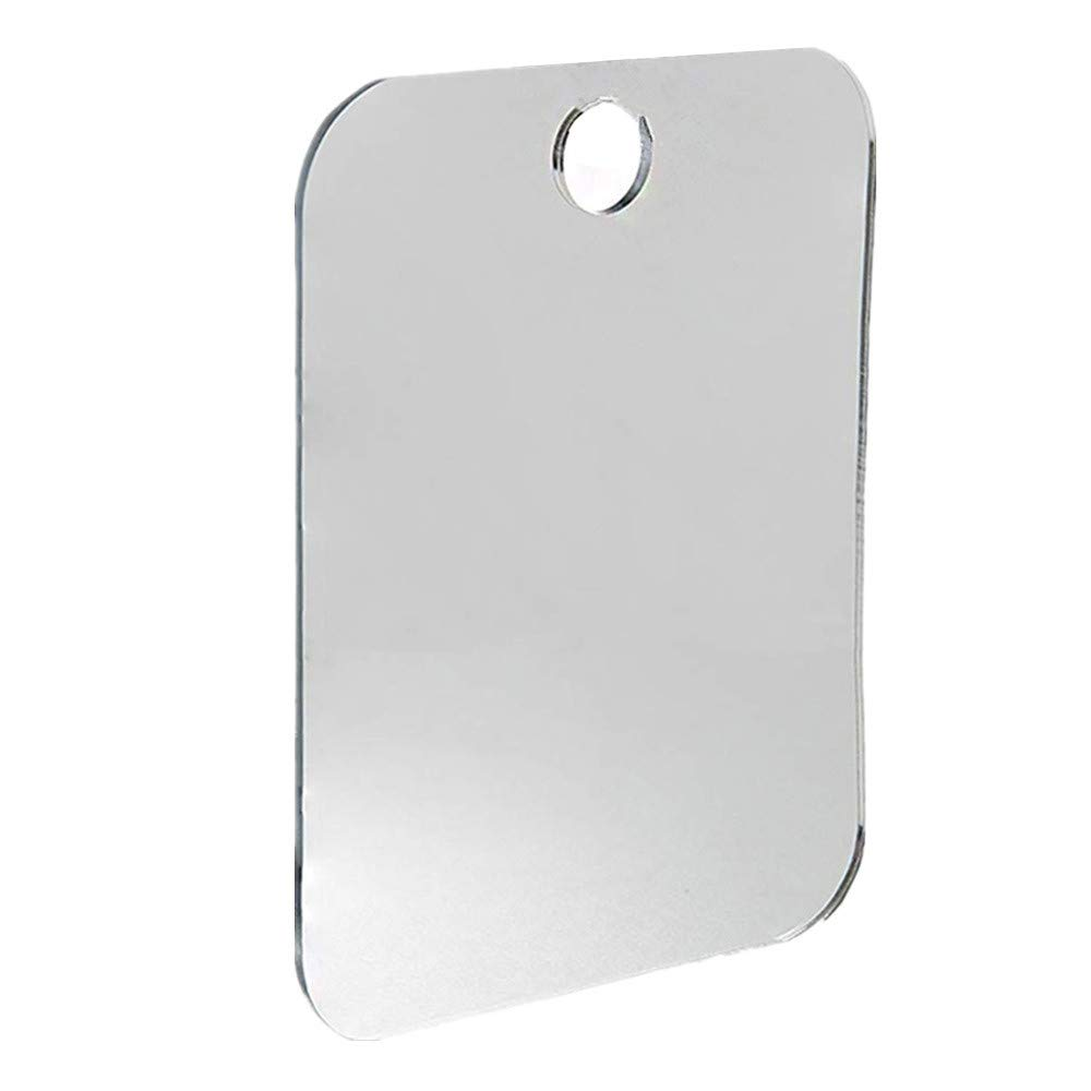 FTXJ Shower Mirror Anti Fog Shower Mirror Bathroom Fogless Fog Free Mirror Washroom Travel (Silver, 17 x 13cm)